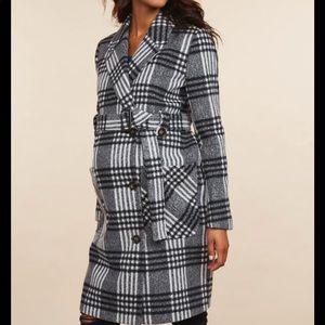Motherhood Maternity Plaid Coat